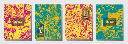 Set of fashionable marble pattern binder cover layout, journal design templates. Çizim