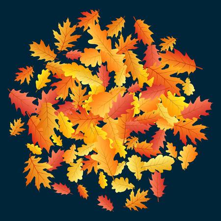 Circle of oak leaf vector, round pattern illustration on dark blue background. Autumn foliage, seasonal image. Red, yellow, orange and brown dry oak tree leaves circle autumn background pattern.