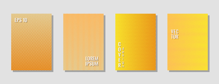Minimalist zig zag banner templates, wavy lines gradient stripes backgrounds for educational cover. Curve shapes stripes, zig zag edge lines halftone texture gradient brochure covers collection.