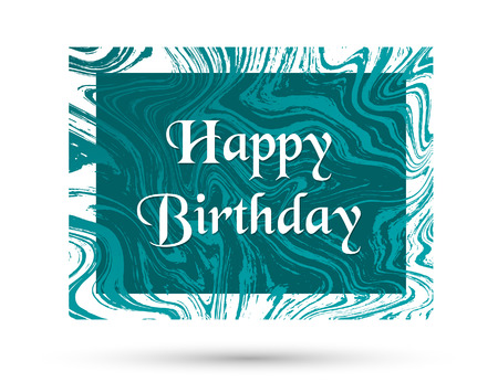 Happy Birthday card design with turquoise marble texture vector background. Trendy birthday greeting card template, vector marble frame design, banner with ink suminagashi fluid art background. Vettoriali