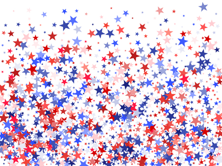 Colors of USA flag background, blue and red stars falling. American President Day background for card, banner and  poster.. Holiday star dust pattern in red, white, blue. USA symbols confetti. Reklamní fotografie - 92019277