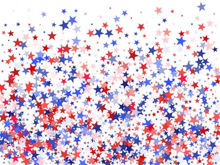 Kleuren van de VS vlag achtergrond, blauwe en rode sterren vallen. American President Day achtergrond voor kaart, spandoek en poster ... Vakantie ster stof patroon in rood, wit, blauw. USA symbolen confetti. Stock Illustratie