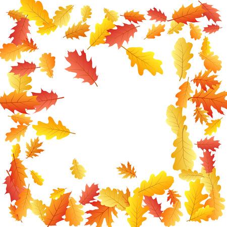 Frame of oak leaf abstract background seasonal vector illustration. Autumn leaves falling graphic design. Fall season specific border frame vector background. Oak tree autumn foliage on white. Çizim