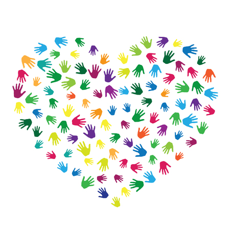 Heart of hands, palms isolated on white vector design. Colored handprints heart - symbol of love, compassion, humanity, friendship. Cartoon children hands prints in paint. Çizim