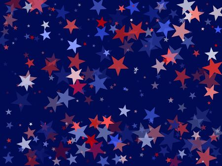 American President Day background for card, banner, poster or flyer. Colors of USA flag background, blue and red stars falling. USA symbols confetti. Holiday star dust pattern in red, white, blue. Çizim