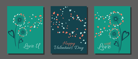 Dandelion flowers valentine template for cards, vector layouts set. With Love, Happy Valentine's Day text on card layouts. Heart shaped flying petals, love symbols. Dandelion blowing and text.