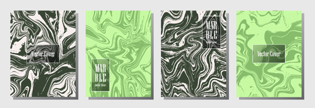 Cool marble pattern binder cover layout, journal design template vector set.