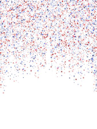 Colors of USA flag background, blue and red stars falling down on white. American Independence Day or President Day backdrop for card, banner, poster or flyer. 4th of July holiday stardust pattern.