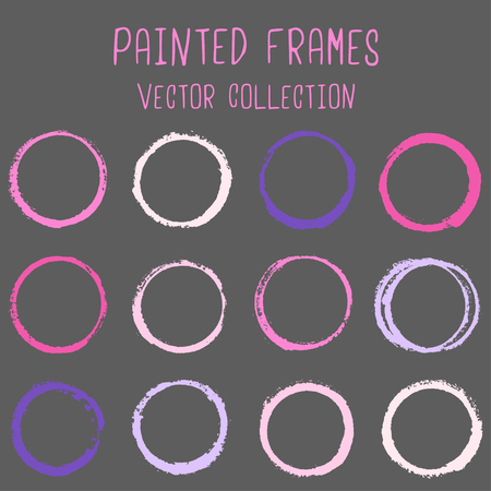Round paint brush stroke vector set, colorful circle frame or border collection. Oval, circular logo elements.