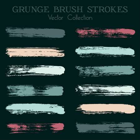Watercolor, ink or paint brush stroke lines color combinations catalog design elements. Çizim