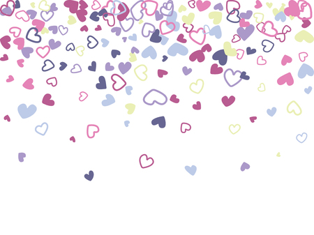 Blue and pink Valentine's day scatter of doodle hearts banner or card template. Flying heart confetti airy vector.