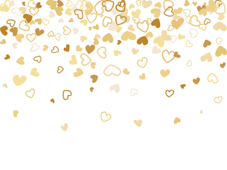Gold Valentine's day scatter of doodle hearts banner or card template. Flying heart confetti airy vector pattern. Holiday decoration with tenderness symbols confetti flying, love background vector