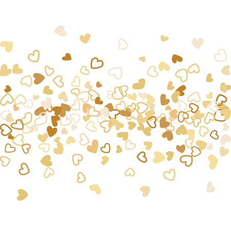Colorful background with heart confetti. Valentine's day greeting card or wedding background party design. Flat style vector illustration with heart doodles confetti love symbols in gold.