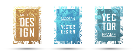 Marble frame vector design set.  Dynamic gift or business cards, party flyers, invitations, music postes design templates. Gradient marble texture vector. Frame for text, modern fluid graphics. Çizim