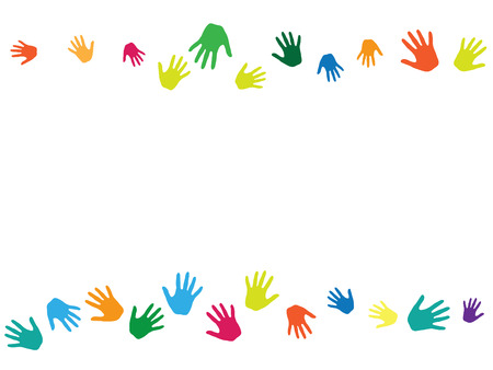 Hands, palms isolated on white vector background graphics.  Multicolored handprints - symbols of friendship, teamwork, cooperation and partnership.  Cartoon children hands prints in paint. Vettoriali