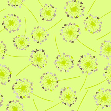 Dandelion isolated vector seamless valentine background pattern. Meadow flower illustration with heart shaped fluff. Floral pattern with dandelion blowing flower isolated. Blossom with love symbols. Ilustrace