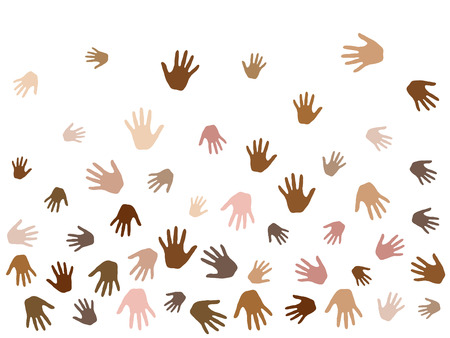 Hands with skin color diversity vector graphic design. Cohesion concept icons, social, national and racial issues symbols. Helping hand prints, human palms - volunteering, collaboration concept. Archivio Fotografico - 94261870