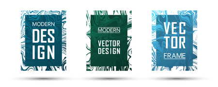 Marble frame vector design set.  Flowing gift vouchers, business cards, party flyers, invitations, music postes templates. Gradient marble texture vector. Text frames, modern fluid graphics. Çizim