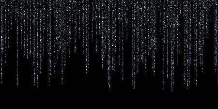 Garland glitter festoons hanging background vector. Sparkle dust falling down, flying confetti vertical lines. Holiday lights rain, carnival garlands. Celebration sparkle tinsels celebration design. Ilustração
