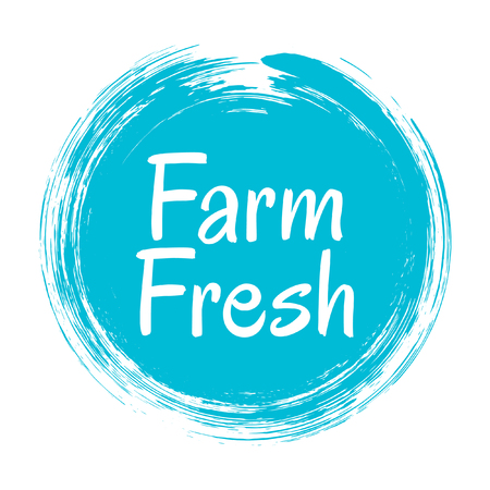 Blue farm fresh label vector, painted emblem isolated on white, round icon for natural products packaging, food pack. Fresh products from farm sign, tag circle stamp, shape label graphic design. Çizim