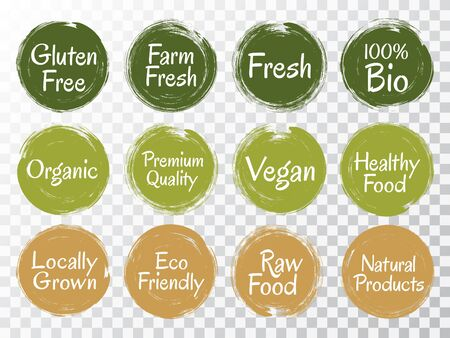 Vector organic labels, bio emblems for restaurants menu, natural products packaging. Vegan, gluten free, fresh raw healthy food, high premium quality, locally grown eco friendly labels. Çizim