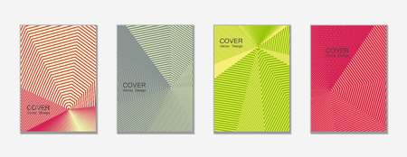 Halftone vector cover templates set with lines graphics. Çizim