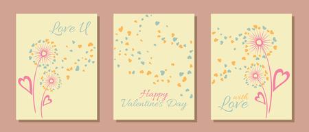 Pastel colors dandelion flowers valentine template for cards, vector layouts set.