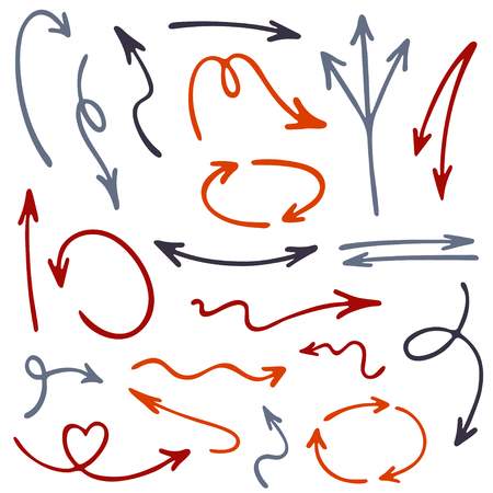 Hand drawn arrow icons vector set. Up and down marker sketch arrows, right and left direction pointers, cycle and way symbols.