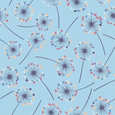 Dandelion isolated vector seamless valentine background pattern. Meadow flower illustration with heart shaped fluff.