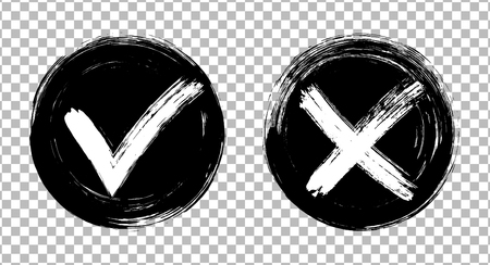 Symbolic approval icons, white tick and cross signs on black circles, checkmarks graphic design.