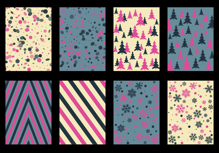 Winter poster backgrounds with fir tree forest, circle and snowflakes isolated confetti explosion, halftone stripes.