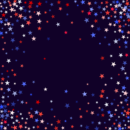 Red and blue stars border frame for American Independence on President Day card. July 4 background in United States flag colors.