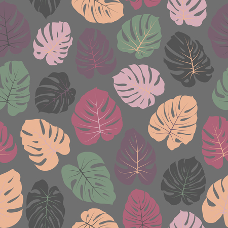 Botanical vector tropical pattern with jungle leaves decor, seamless fabric background. Çizim