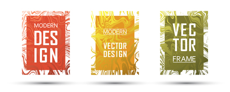 Marble frame vector design set. Dynamic gift or business cards, party flyers, invitations, covers design templates. Çizim