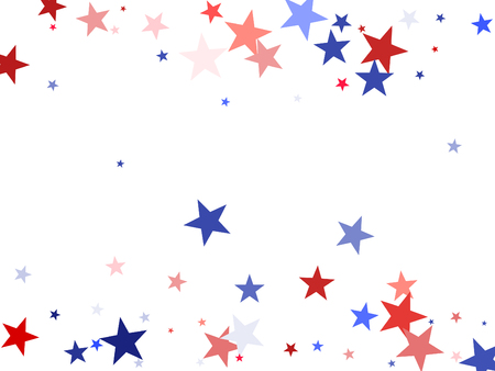 American President Day background with stars. Holiday confetti in USA flag colors for President Day.