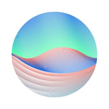 Circle ripple waves business vector illustration on white background. Round shape logo design. Çizim