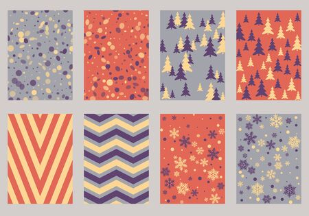 Halftone lines, fir tree silhouette, circle confetti explosion, snowflakes pattern winter background abstract vector.
