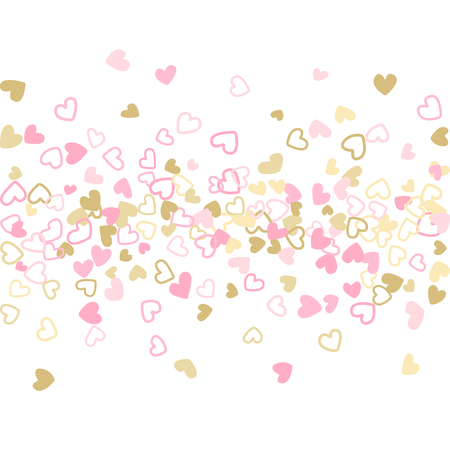 Rose gold Valentine's day scatter of doodle hearts banner or card template. Çizim