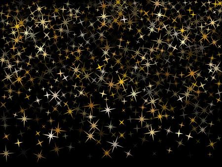 Trendy gold star dust sparkle vector background. Glitter stardust confetti, shining sparkles pattern design on black.