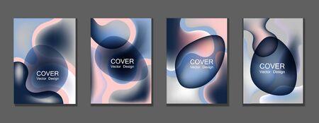 Fluid color covers set trendy vector design for business brochure, booklet, flyer. Çizim