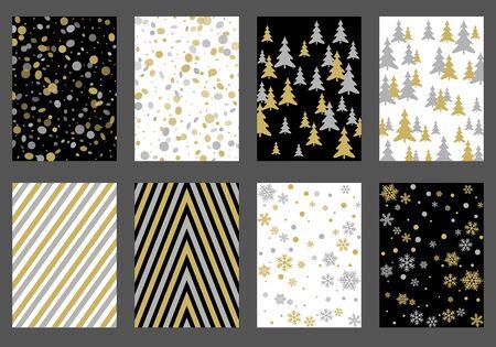 Winter background snow pattern, halftone texture, christmas tree silhouette, confetti explosion. Çizim