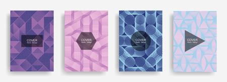 Halftone shapes minimal geometric cover templates set graphic design.