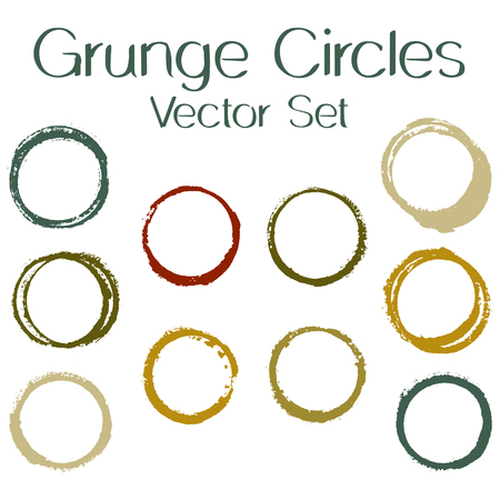 Round painted frame border set of circular brush strokes, stamps. Hand painted circle border, ring frame collection with ink stamp texture, grunge watercolor graphic design isolated vector elements. Çizim