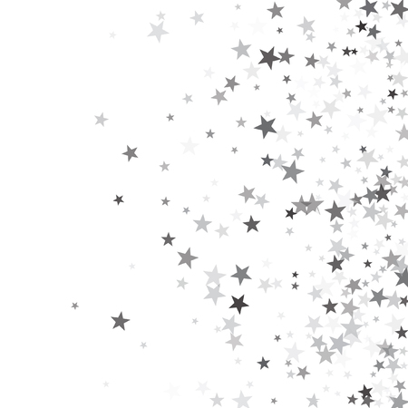 Lujosa plantilla de vector de estrellas fugaces de brillo plateado para fiesta de cumpleaños, tarjeta de invitación de boda, folleto, vale, banner de vacaciones. Plata brillo estrellas confeti brillo en blanco.