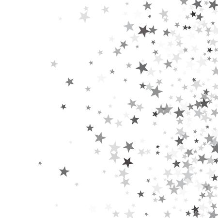 Modèle de vecteur d'étoiles filantes paillettes d'argent luxueux pour la fête d'anniversaire, carte d'invitation de mariage, flyer, bon, bannière de vacances. Confettis étoiles scintillantes argent scintillent sur blanc. Banque d'images - 95251304