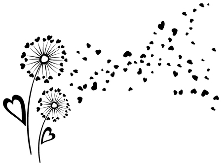Black and white vector dandelion herbs couple. Floral background design with meadow plant. Blow ball flower with heart shaped feather and leaves illustration, flying abstract petals. Valentine's card.