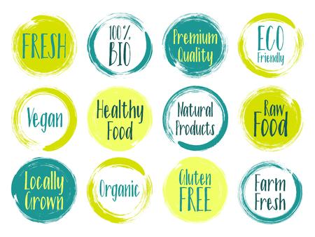 Vector organic labels, bio emblems for restaurants menu, natural products packaging. Fresh, raw food, vegan, gluten free, eco friendly, premium quality, locally grown, bio organic healthy food labels. Illustration