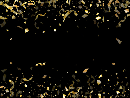 Gold glossy confetti flying on black holiday vector graphic design. Trendy flying tinsel elements, gold foil gradient serpentine streamers confetti falling birthday vector.