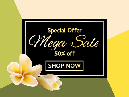 Card for sale garden plumeria blossom with 50 percent off special offer. Shop now mega sale garden tropical plants vector tag. Discount banner layout, graphic design with frangipani exotic tropical flower.