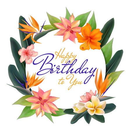 Happy Birthday tropical circle frame vector illustration with hibiscus, plumeria or frangipani flower, bird of paradise african plant, jungle leaves. Exotic round border with text place, bouquet.